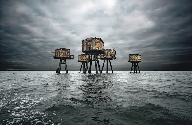 Maunsell Forts, Thames Estuary in England. Though not all remain standing today, the World War II Maunsell Forts at Red Sands were arranged in groups of seven – six armed and in a semi-circle and a look-out tower set slightly apart. After being abandoned in 1958, some of the Maunsell Forts were later used as pirate radio stations.
