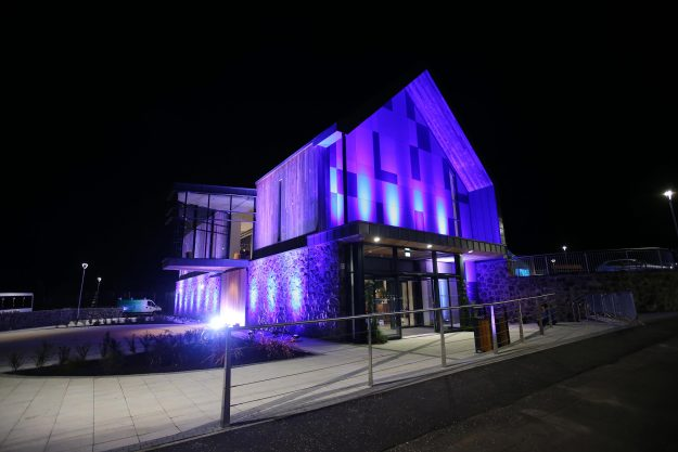 The Seamus Heaney HomePlace in Derry at night. Image: Kelvin Boyes/Press Eye