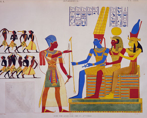 Ramses II before the Triad, fresco from the east wall of the great hall of Abu Simbel, from Monuments of Egypt and Nubia, 1835, by Jean-Francois Champollion (1790-1832).