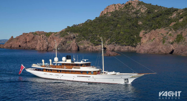 The luxury yacht is now up for sale.