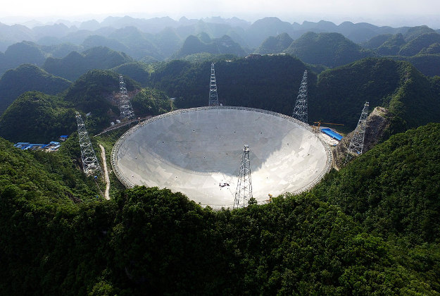 The world's largest radio telescope in Ghizou province, China.