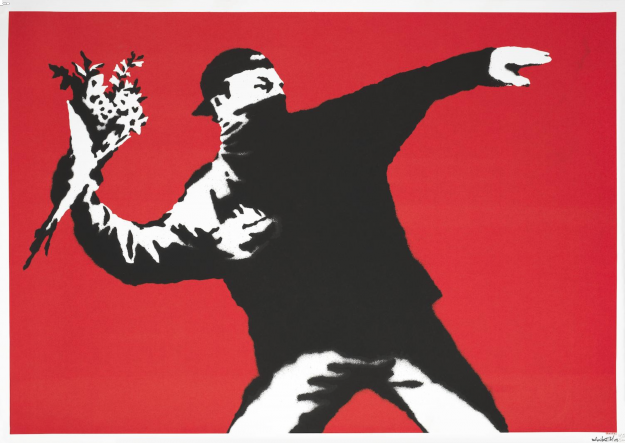 Love is is the Air by Banksy.