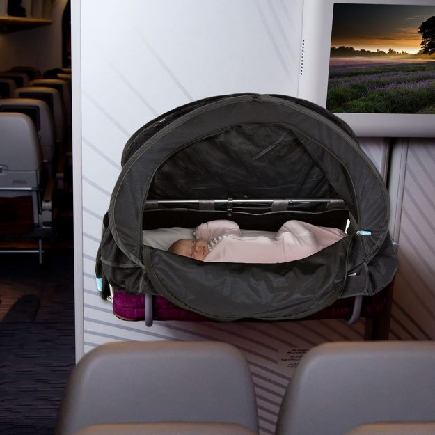 Fly Babee is a pop-up sleep cover that easily attaches to airline bassinets and all types of strollers. Image: Fly Babee