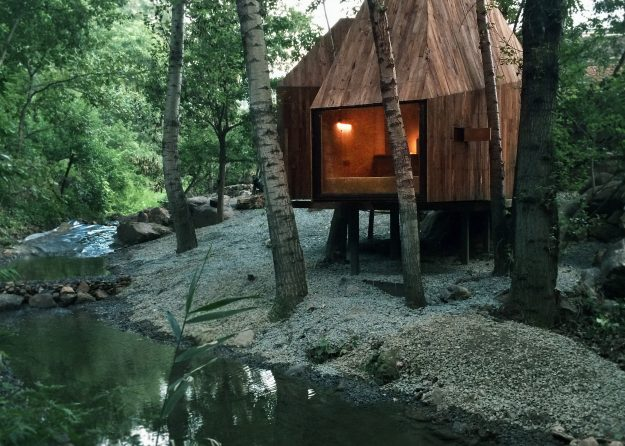 Crowdfunded treehouses have been built in woodland in Beijing, China. Image: Sun Haiting, Roadside Alien Studio.