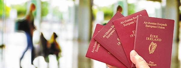 The EU passport is burgundy as shown by these Irish passports. Image: Department of Foreign Affairs