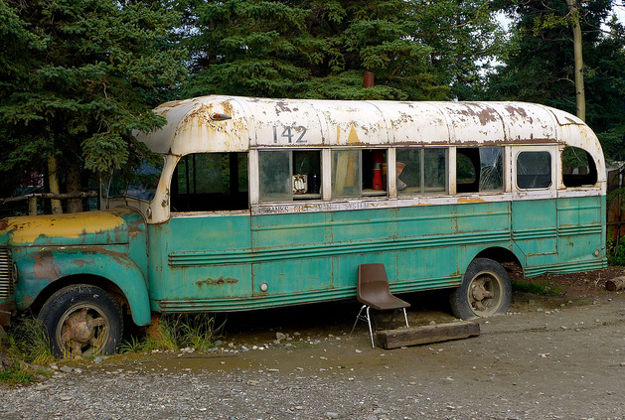 Replica of the school bus that Chris McCandless lived in, in the film Into the Wild.