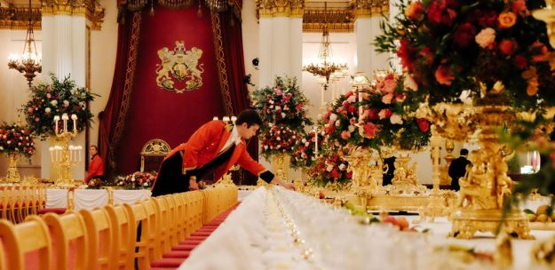 Preparing for a banquet at Buckingham Palace. Image: The Royal Household