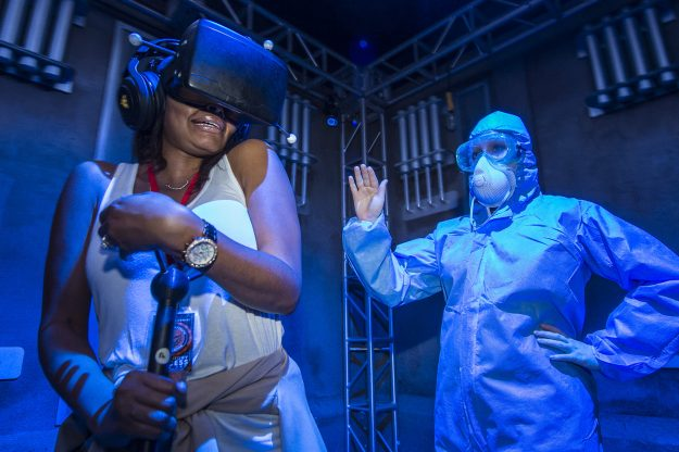 The interactive experience features live action scares and virtual reality elements.