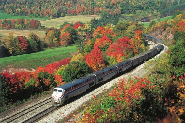 In this photo, the Capitol Limited rounds a horseshoe curve in Mance, Pennsylvania amidst fall foliage.