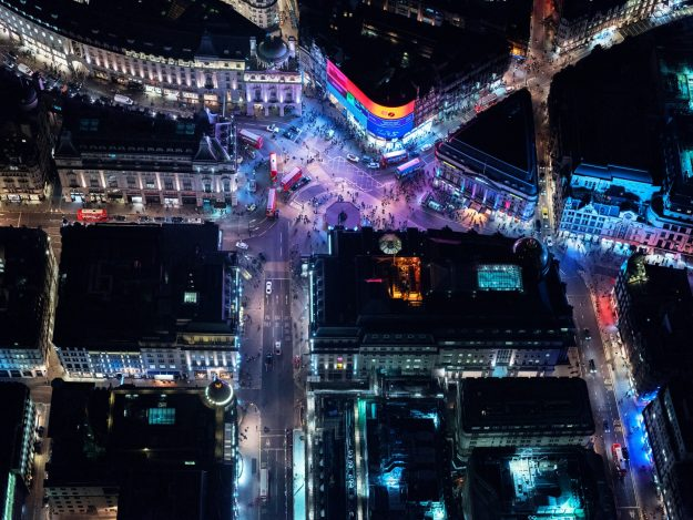 Piccadilly Circus Aerial Photography
