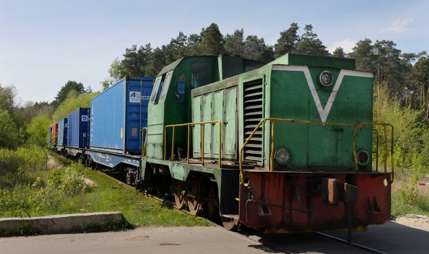 A train used for transporting plywood from the factory nearby.
