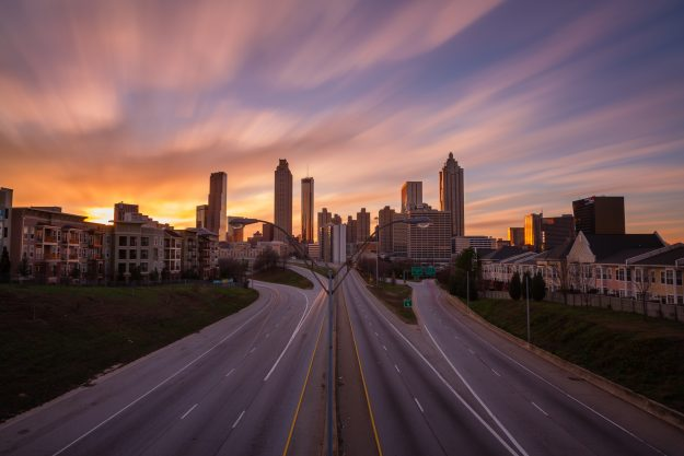 Taken from the Jackson Street Bridge, just east of downtown Atlanta, this is the place where Rick rides into Atlanta in episode 1.