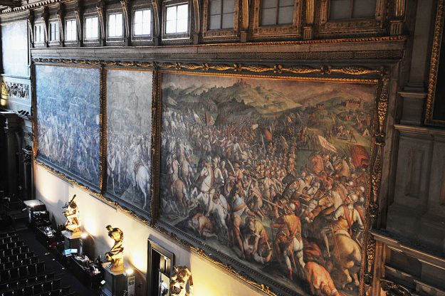 The painting The Battle of Marciano (1st R) by Vasari in Palazzo Vecchio.