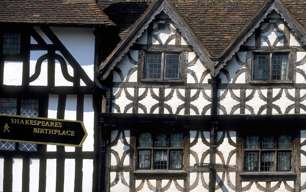 Elizabethan Tudor-style houses in Stratford-upon-Avon, the birthplace of William Shakespeare.