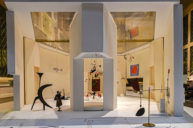 Detail of an architectural model of one of the new tower galleries during a look at the east wing of the National Gallery of Art before its' reopening on September, 19, 2016 in Washington, DC.