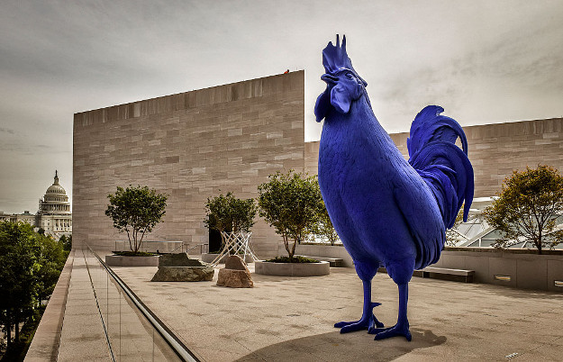The East wing of the National Gallery of Art is set to reopen after years of renovation on September, 21, 2016 in Washington, DC. Pictured, the new sculpture terrace, featuring Katharina Fritsch's 'Hahn/Cock', right.