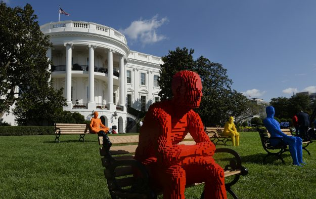 """""""The Park People Series"""" by artist Nathan Sawaya is seen on the South Lawn of the White House."""