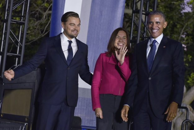 Actor Leonardo DiCaprio, climate scientist Katharine Hayhoe and US President Barack Obama arrive on stage for a discussion on climate change during the South by South Lawn festival.