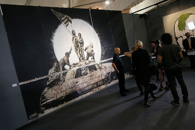 Curator and former manager of Banksy Steve Lazarides speaks during a media preview of The Art of Banksy Exhibition at Federation Square on October 6, 2016 in Melbourne, Australia.