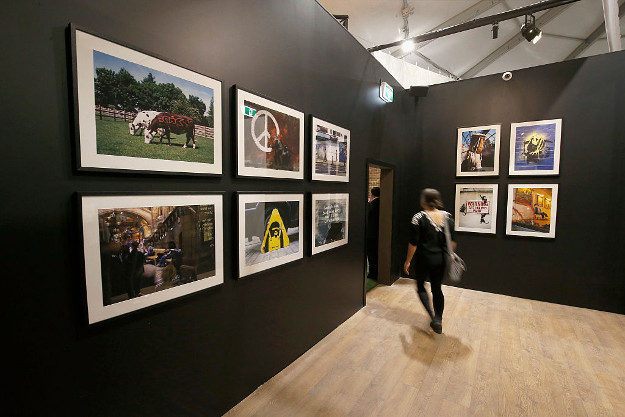 Art work from famous street artist Banksy is displayed during a media preview of The Art of Banksy Exhibition at Federation Square on October 6, 2016 in Melbourne, Australia.
