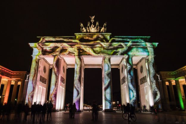 The Brandenburg Gate is lit up as part of the Festival of Lights.