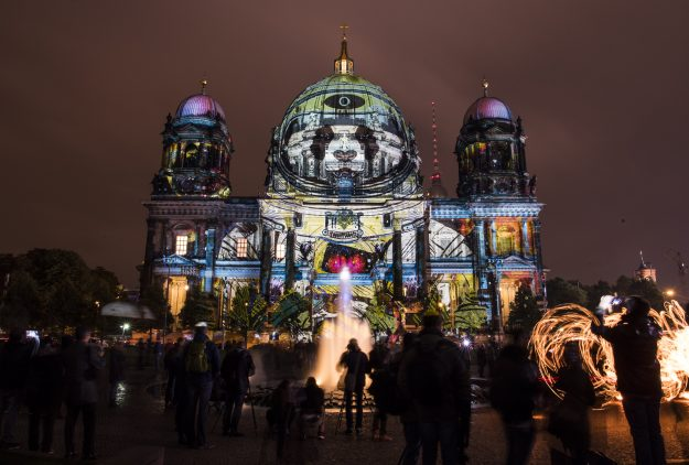 Colourful designs are projected on the facade of the Berlin Cathedral (Berliner Dom) as part of the yearly Festival of Lights in Berlin.