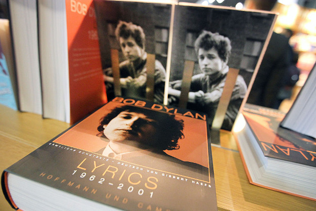 Books of the 2016 Literature Nobel Price winner US Bob Dylan are pictured at the booth of publisher Hoffman und Campe at the Frankfurt Book Fair in Frankfurt/Main, Germany, on October 19, 2016. The five-day Frankfurt fair, which opens to the public on October 19, is the world's largest publishing event.