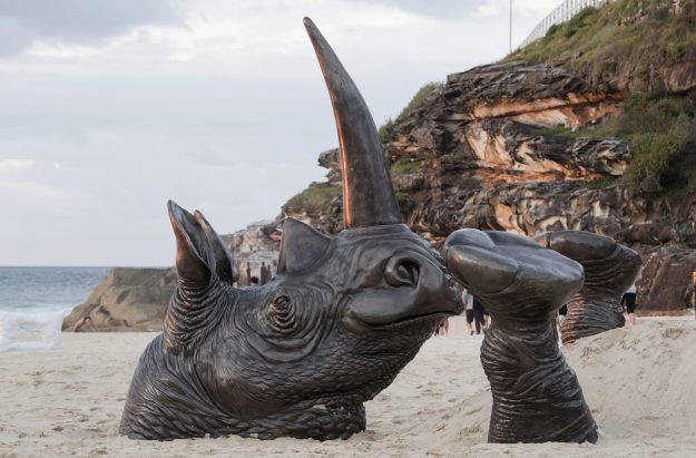 """""""Buried Rhino"""" by Gillie and Marc Schattnery."""