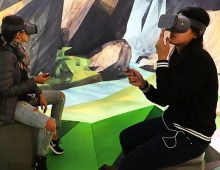 Women try the Google Daydream VR at the new Google pop-up shop in the SoHo neighborhood.
