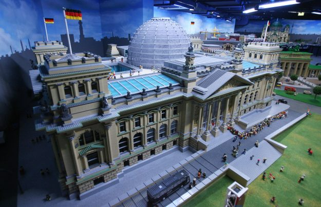 A model of Berlin's Reichstag building made of Lego bricks formed part of the Miniland exhibit at Berlin's Legoland Discovery Centre in 2007. Image: John MacDougall/AFP/Getty Images