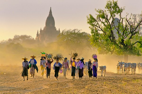A group of women returns to their village after a long dusty day in Bagan, Myanmar.