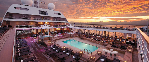 On board the cruise ship that travels to mysterious destinations.