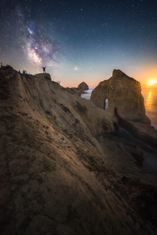The milky way visible over the Pacific Ocean in Cape Kiwanda, Oregon.