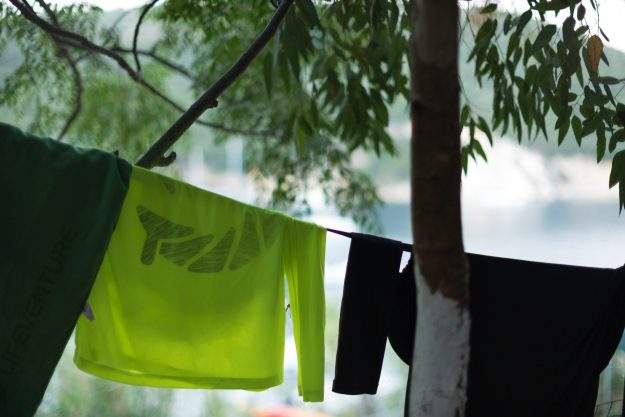 Bethany and Jay's clothes dry at camp.