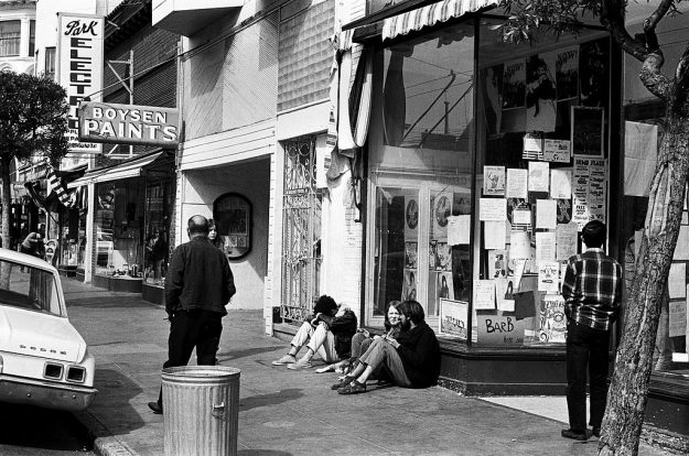 Hippies lounge in the Haight-Ashbury in San Francisco.