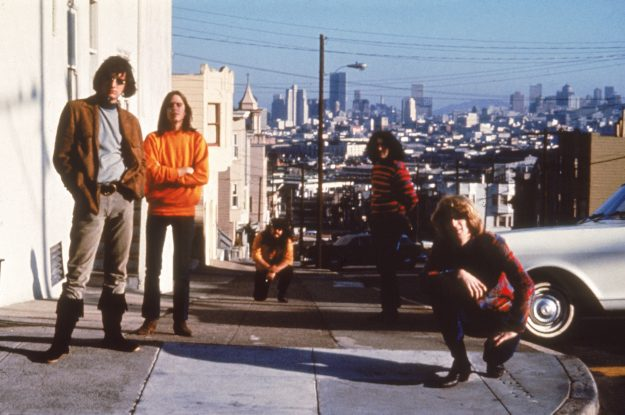 American psychedelic rock band The Grateful Dead poses on Haight-Ashbury, San Francisco