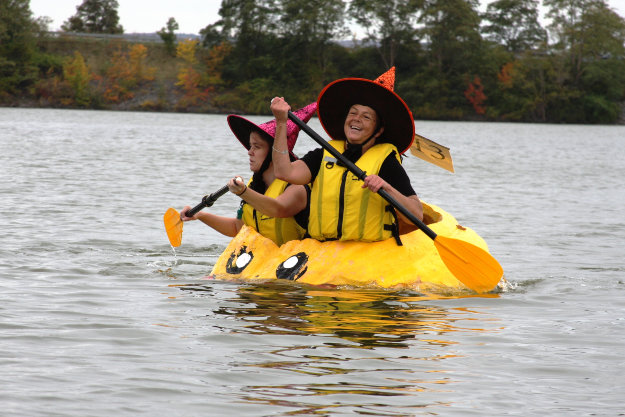 Our two blind paddlers, Stephanie Barry (right) and Milena Khazanavicius (left), are all smiles paddling across Lake Pesaquid.