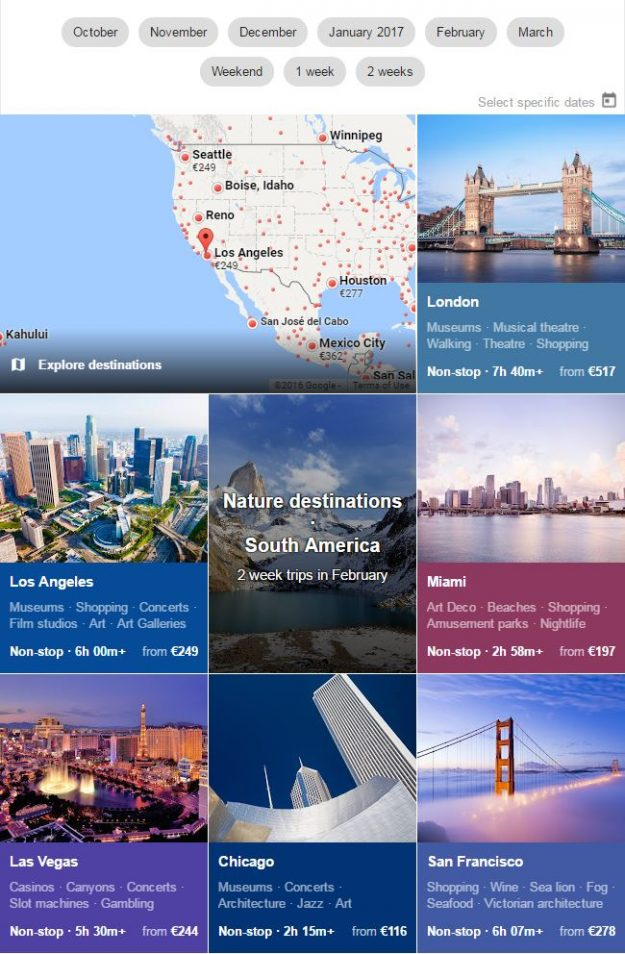 Google Flights also has a helpful explore tab allowing users to search by destination