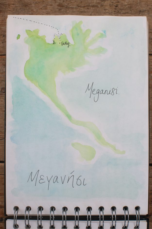 A map of Meganisi.