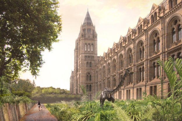 The newly landscaped grounds of London's Natural History Museum will feature the bronze cast of a Diplodocus dinosaur that has been inside the museum's entrance hall for the past 30 years. Image: Niall McLaughlin Architects