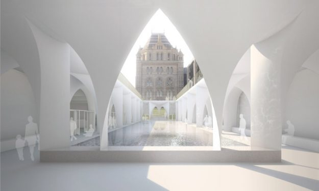A rendering of the new entrance to London's Natural History Museum. Image: Niall McLaughlin Architects