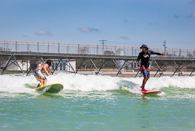 The surf park is a 14 acre lagoon