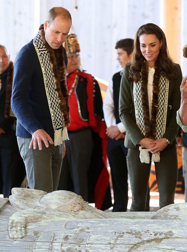 Prince William and theDuchess of Cambridge visit the Haida Heritage Centre during the Royal Tour of Canada.