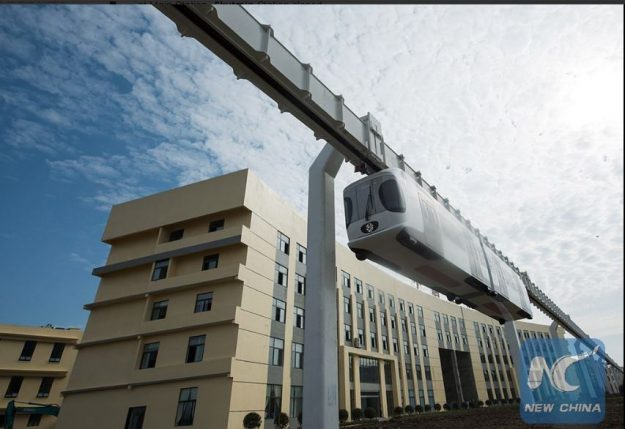 China's 1st #skytrain, a #lithium-battery powered train suspended from railway line, finished test run in Chengdu
