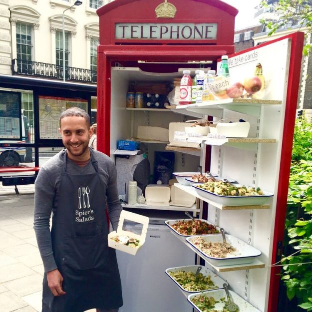 Spier's Salads sells hearty food from the phone box in Bloomsbury Square, London. Image: Spier's Salads