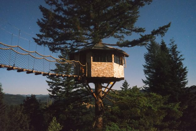 A tree house as part of The Cinder Cone, a series of builds in Skamia County, Washington.