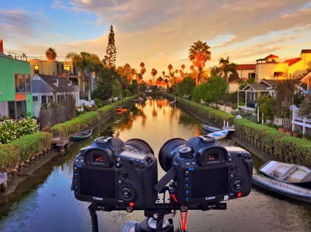 An example of Joe's setup, which shows two synced cameras whose footage are stitched together in post processing.