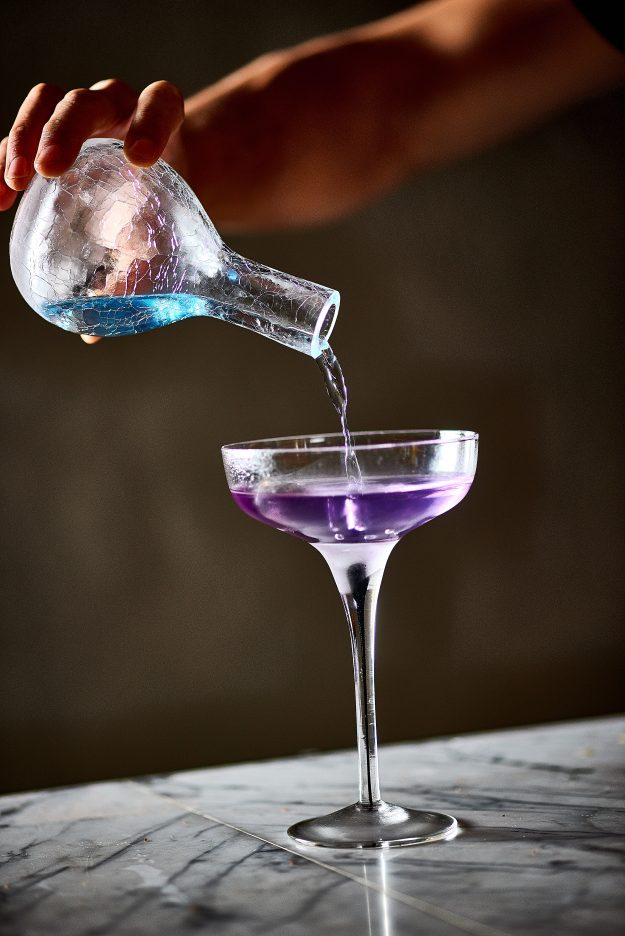 The curious creations feature colour changing cocktails.