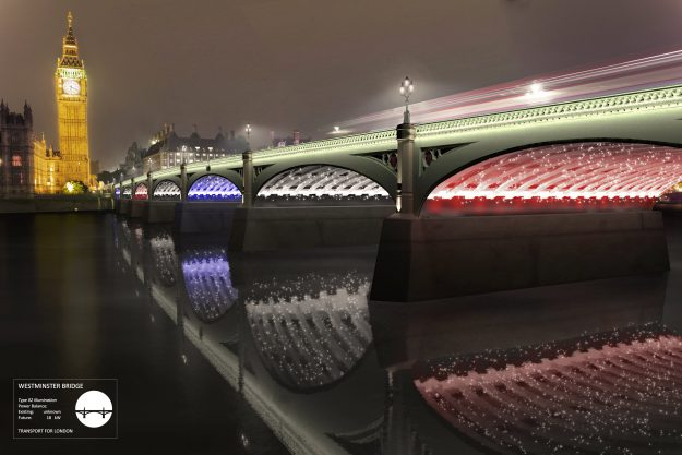 """The """"A River Ain't Too Much To Light"""" design features lampposts of light emerging from the river"""