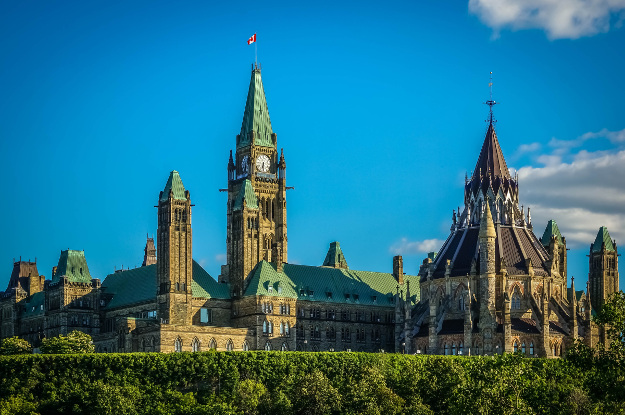 View of Parliament building, Ottawa, Canada.